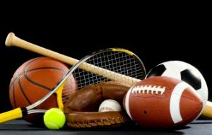Tennis Racket & Ball, Baseball Glove & Ball with Bat, Football, Soccer Ball, and Basketball